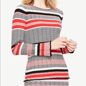 Ann Taylor sweater stripes red black L